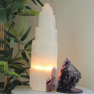 Selenite Tower Lamp 35cm - warm light