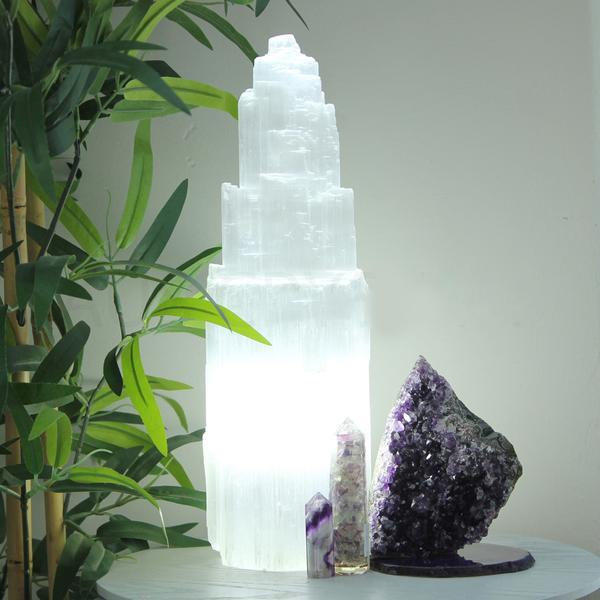 Selenite Tower Lamp 35cm - cool LED light