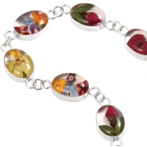 Blue Turtles Wildflowers Collection - Oval Wildflower Bracelet - Mixed Bouquet