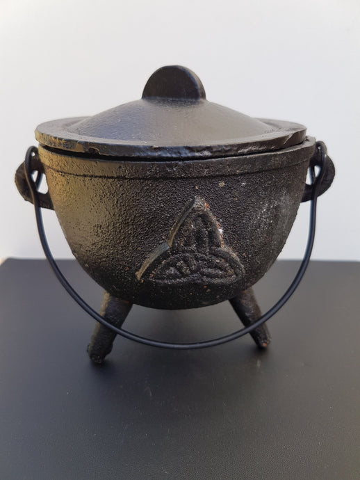 Cast Iron Cauldron - large triquetra design