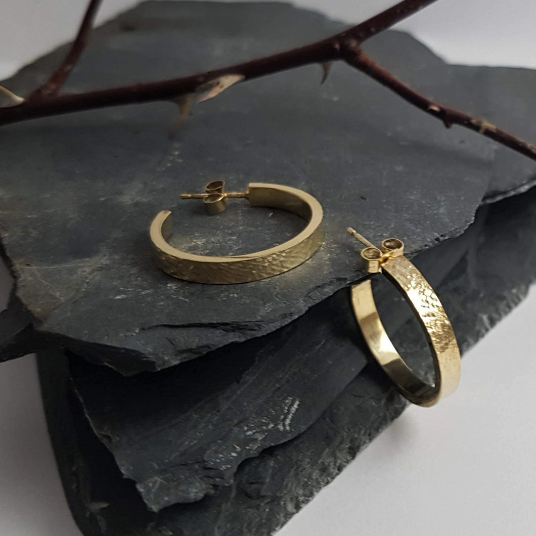 Metal & Lace Gold Hoop Earrings