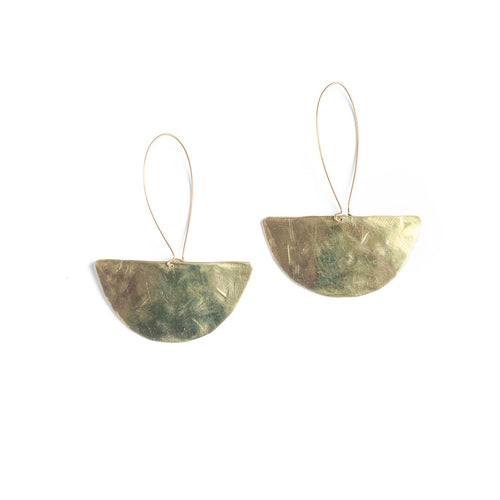ISA - Half moon statement brass earrings