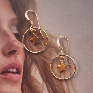 14 ct gold fill mini hoop with star charm