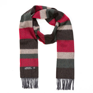 Brown Stripe merino and cashmere scarf
