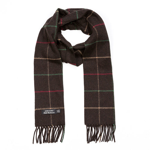 Brown check merino and cashmere scarf