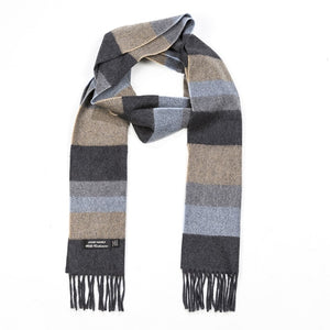 Block stripe merino and cashmere scarf