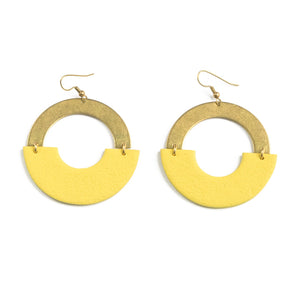 Lumi - Yellow & Brass Statement Earrings