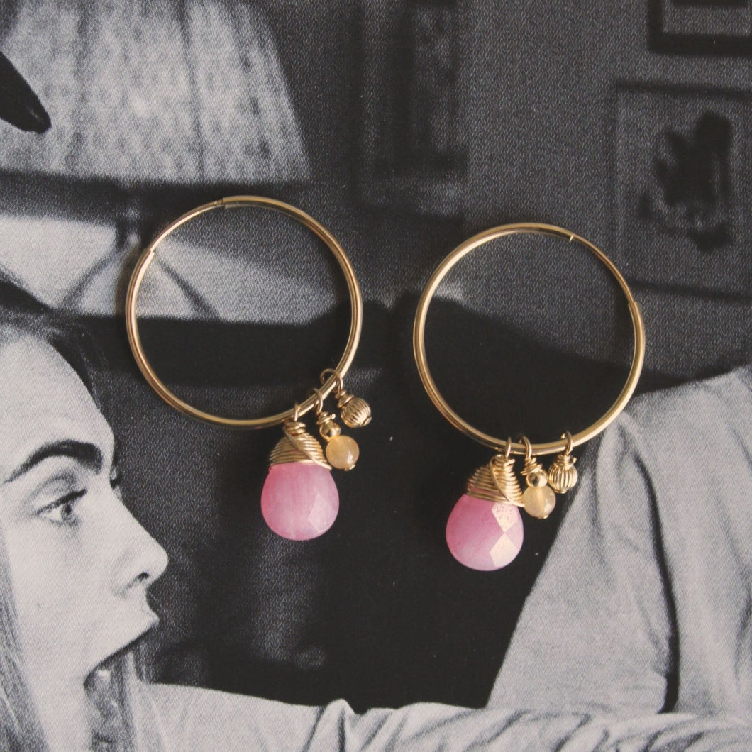 Endless hoops with pink jade, red aventurine and gold filled bead.
