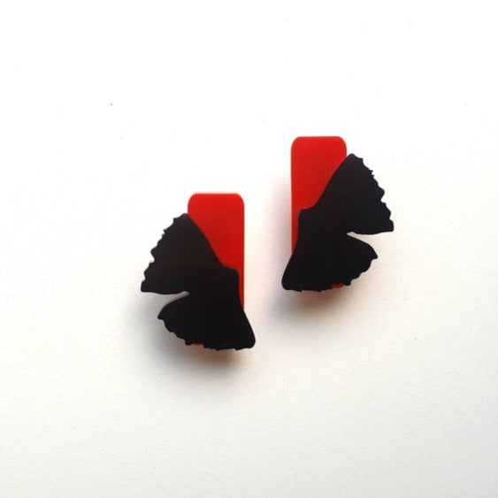Gingko Earrings - Red