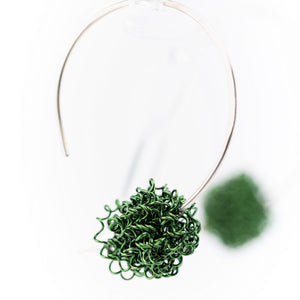 Open Silver Hoop with Green Berry