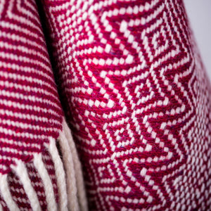Undulating Twill Throw, Ruby