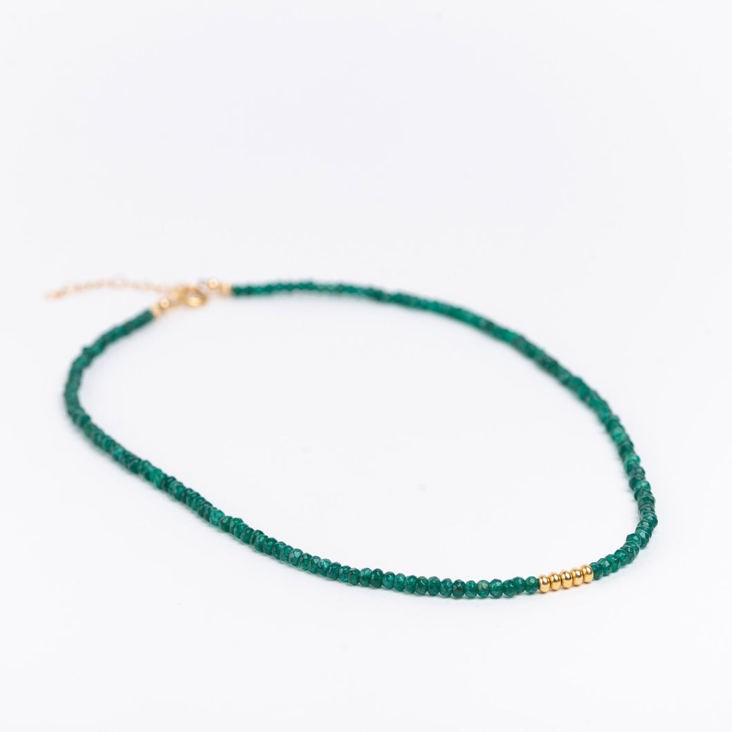 Gold filled necklace with emerald jade