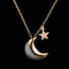 Quarter moon and gold fill star necklace