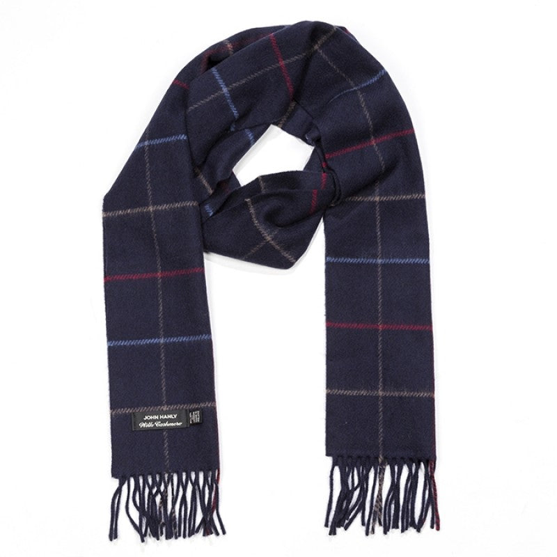 Blue Check merino and cashmere scarf