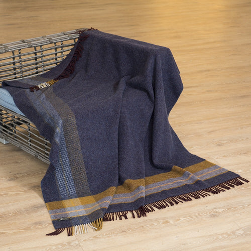 Merino and Cashmere Throw - Navy with Mustard