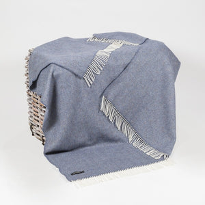Merino and Cashmere Throw - Denim