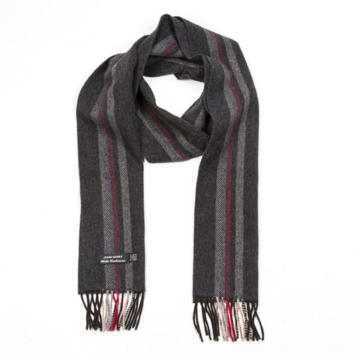 Cashmere and Merino vertical stripe scarf