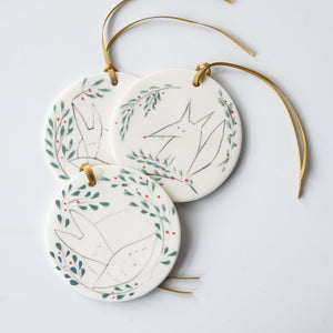 Porcelain Disc Decoration - Fox