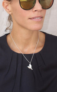 Silver humming bird Necklace