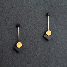 Klimt Pendulum Earrings - Black
