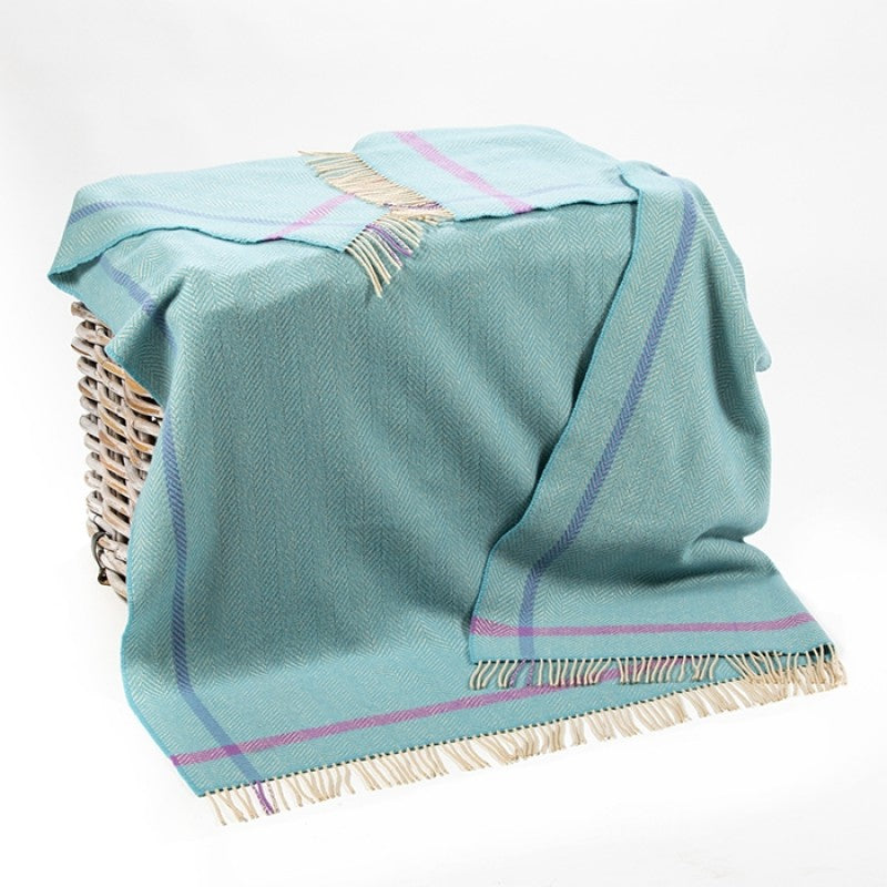 Merino & Cashmere Throw - Aqua