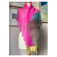 Shawl (Multi, pink & Gold fringe)