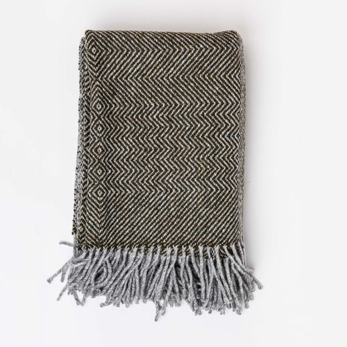 Undulating Twill Throw, Olive