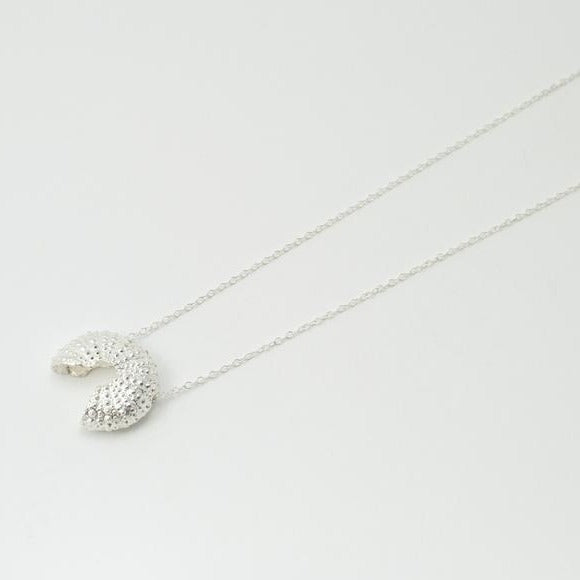 Silver Broken Sea Urchin Necklace - long