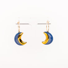 Moon Earrings, midnight blue