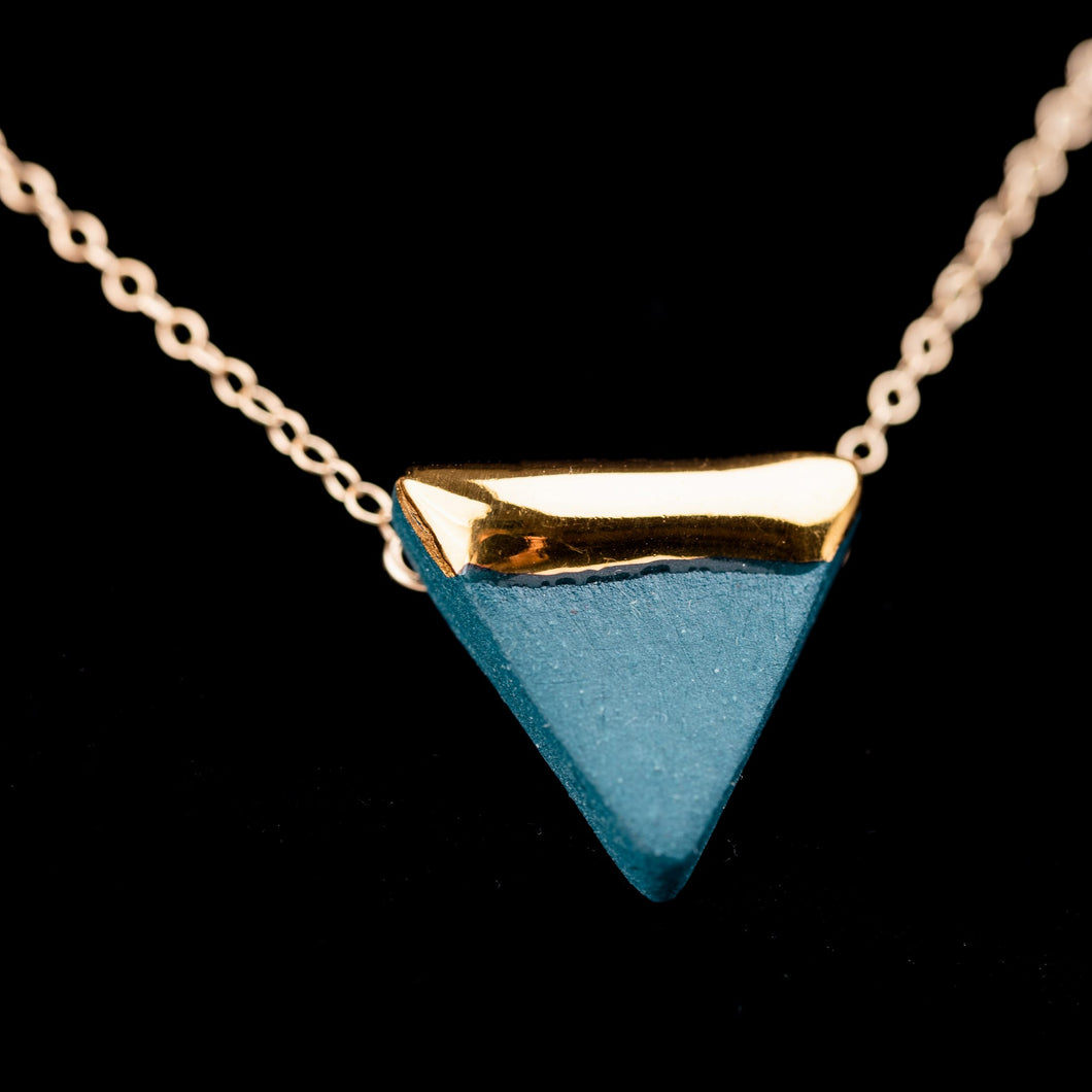 Teal and Gold Triangle Necklace