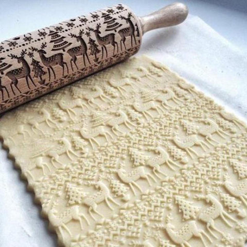 Wooden Engraved Christmas Rolling Pin