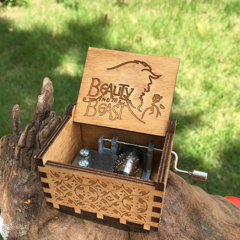 Wooden Music Box beauty and the beast