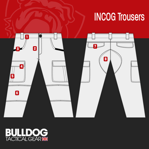 Bulldog Incog Tactical Trouses Line Drawing