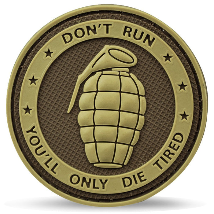 3D PVC Grenade You'll Only Die Tired Patch | UKMCPro