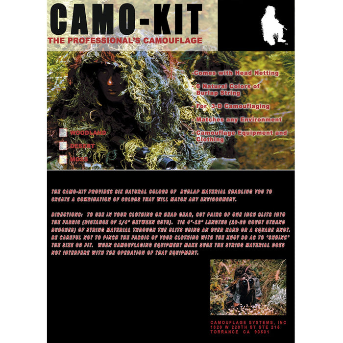 Bushrag Ghillie Camo Kit w/ 6 Colours & Head Net | UKMCPro