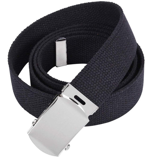 Chrome Buckle Canvas Trouser Belt Black | UKMCPro