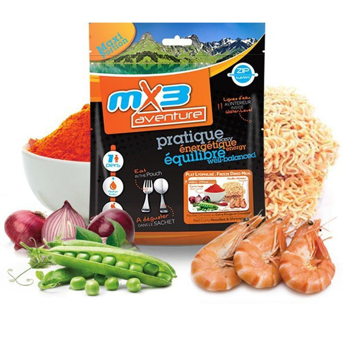 MX3 Adventure Red Curry Noodles & Shrimp Freeze Dry Meal Pouch | UKMCPro