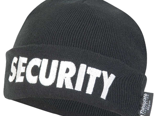 VIPER SECURITY BOB HAT | Unisex Thinsulate Padded Acrylic Beanie Black | UKMC Pro