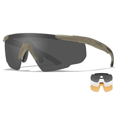 WX SABER ADVANCED | Wiley-X Glasses, Coyote Frame, Grey/Clear/Light Rust | UKMC Pro