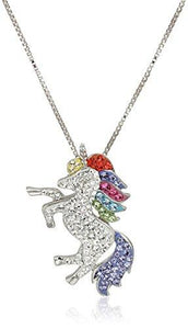 "Carnevale Sterling Silver Unicorn Made with Swarovski Elements Pendant Necklace, 18"" - Tucson Tiques"