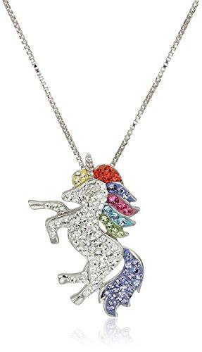 Carnevale Sterling Silver Unicorn Made with Swarovski Elements Pendant Necklace, 18