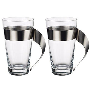 New Wave Modern Coffee Cup Set of 2 by Villeroy & Boch Glass and Stainless Steel - Made in Germany - Perfect for Latte, Cappuccino, Macchiato - 10 ounce Capacity - Tucson Tiques
