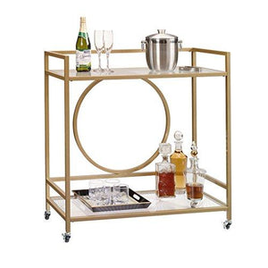 Sauder International Lux Bar Cart in Satin Gold - Tucson Tiques