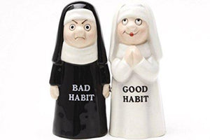 Good Bad Habits Nun Pair 4 Inch Ceramic Magnetic Salt and Pepper Shaker Set Fun Novelty Gift