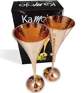 Champagne Copper Flutes for Wedding Toasts, Champagne Moscow Mules, Appetizers & New Years Toasts - Crafted with Hammered Copper by Kamojo - Unique Gift Set of 2 - Tucson Tiques