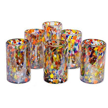 NOVICA Artisan Crafted Hand Blown Multicolor Confetti Recycled Glass Juice Glasses, 14 oz. 'Carnival' (set of 6) - Tucson Tiques