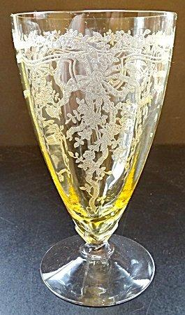 Vintage Fostoria Topaz Yellow June Pattern Low Stem Ice Tea Water Glass Goblet - Tucson Tiques
