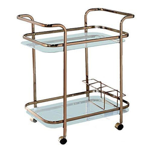HOMES: Inside + Out IDF-AC235 Lautner Serving Cart Champagne Contemporary - Tucson Tiques