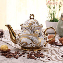 ufengke 13 Pieces White And Gold Flower European Retro Titanium Ceramic Tea Set Tea Service For Wedding - Tucson Tiques