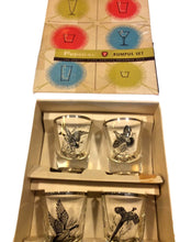 Mid Century Federal Glass Shot Glasses, Original Box, Sportsman Gift, Vintage Barware, Rumpus Set - Tucson Tiques